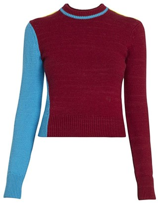 Victoria Beckham Colorblock Alpaca & Wool Crewneck Sweater