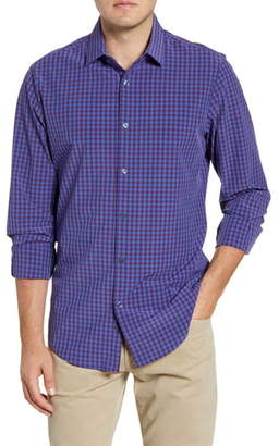 Mizzen+Main Holmes Trim Fit Gingham Button-Up Performance Sport Shirt