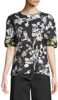 Derek Lam Short-Sleeve Graffiti Floral-Print Cotton T-Shirt w/ Silk Cuffs