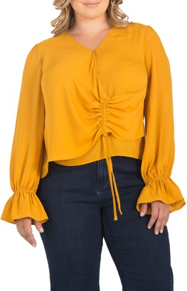 Standards & Practices Ruched Front Bell Cuff Blouse