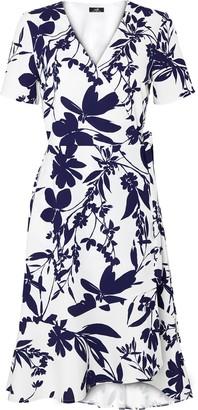 Wallis Cream Floral Print Short Sleeve Wrap Dress