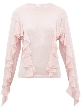 Giambattista Valli Ruffled Cashmere-blend Sweater - Light Pink