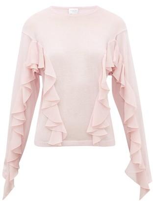 Giambattista Valli Ruffled Cashmere-blend Sweater - Womens - Light Pink