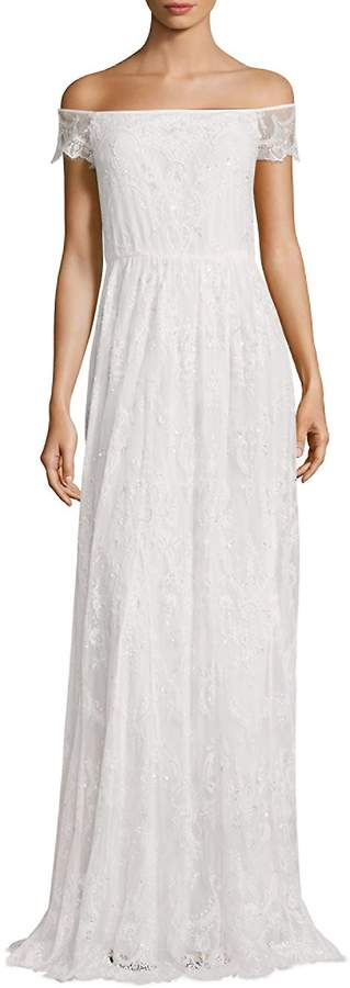 Alice + Olivia Women's Aurelia Off-The-Shoulder Embellished Gown