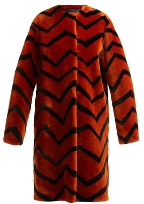 Givenchy Zigzag Shearling Coat - Womens - Orange Multi