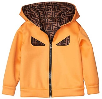 Fendi Kids Reversible Logo Hooded Jacket with Eyes (Little Kids) (Orange) Boy's Clothing