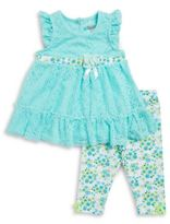 Nannette Lace-Trimmed Dress & Leggings Set