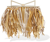 Sara Battaglia Fringed metallic leather clutch