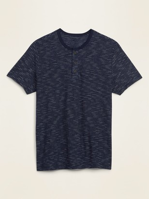 Old Navy Soft-Washed Slub-Knit Chalk-Stripe Henley Tee for Men