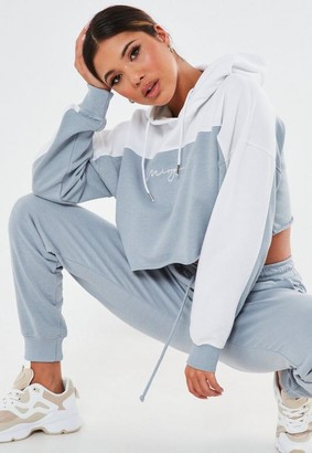 Missguided Blue Co Ord Branded Cropped Hoodie