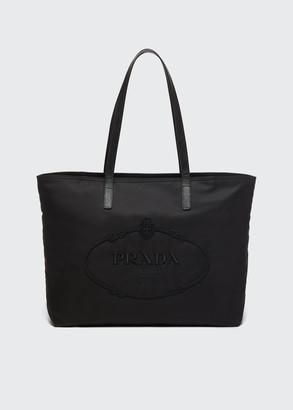Prada Nylon Embroidered Logo Tote Bag