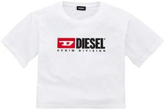 Diesel Girls Short Sleeve Boxy Cropped T-shirt - White