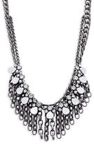Gerard Yosca Crystal and Chainlink Linear Drop Layered Necklace