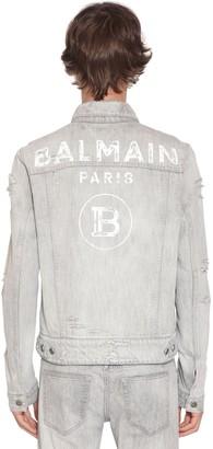 Balmain Bleached Logo Print Cotton Denim Jacket