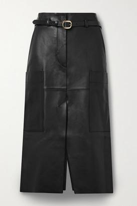 Petar Petrov Randy B Belted Leather Midi Skirt - Black