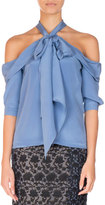 Erdem Elin Silk Cold-Shoulder Halter Top, Blue
