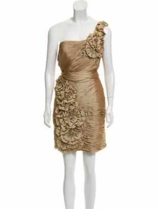 Terani Couture One-Shoulder Mini Dress w/ Tags Gold