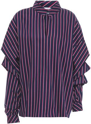 Stella Jean Ruched Striped Cotton-blend Poplin Blouse