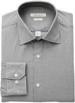Perry Ellis Portfolio Men's Slim Fit Adjustable Collar Perf Mini Check Dress Shirt, Grey