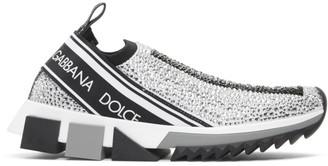 Dolce & Gabbana Silver Rhinestones Sorrento Slip-On Sneakers
