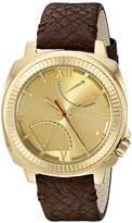 Vince Camuto Men's VC/1003GDGP The Veteran Gold-Tone Dial Brown Leather Strap Watch