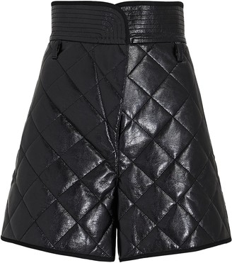 Philosophy di Lorenzo Serafini Quilted Paperbag Faux Leather Shorts