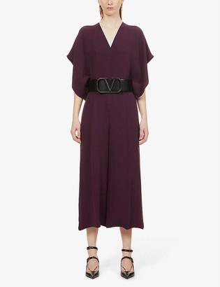 Valentino V-neck cropped silk jumpsuit