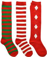 Angelina Red & White Three-Pair Knee-High Socks Set