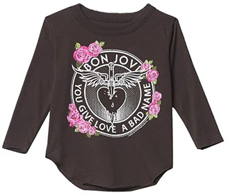 Chaser Vintage Jersey Long Sleeve Shirttail T-Shirt (Toddler/Little Kids) (Union Black 1) Girl's Clothing