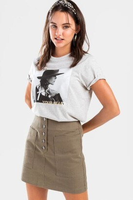 francesca's Olgae Button Side Pocket Mini Skirt - Olive