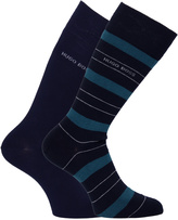 Boss 2 Pack Soft Cotton Teal Striped Socks