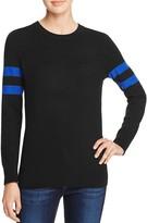 Aqua Cashmere Varsity Stripe Cashmere Sweater