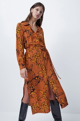 French Connenction Cefara Drape Printed Shirt Dress