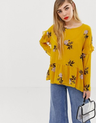 MBYM floral ruffle shoulder top-Multi