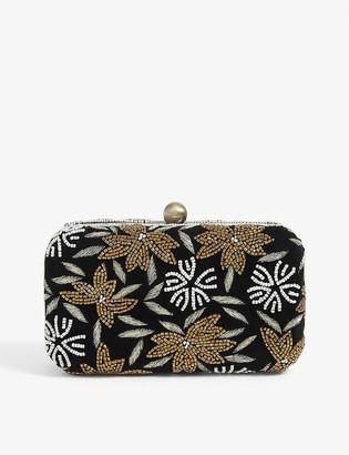 From St Xavier Floral beaded velvet clutch bag