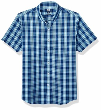 Cutter & Buck Men's Short Sleeve Strive Shadow Plaid Button Up Shirt