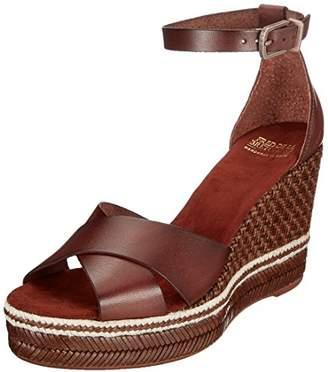 Fred de la Bretonière Women's KEILSANDALE Leder Ankle Strap Sandals, (Dark Brown 3157)
