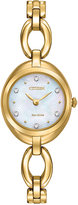 Citizen Women's Eco-Drive Gold-Tone Stainless Steel Bracelet Watch 24mm EX1432-51D