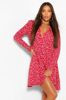 boohoo Tall Ditsy Floral Skater Shirt Dress