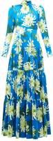 Andrew Gn Chrysanthemum-print Silk Gown - Womens - Blue Multi