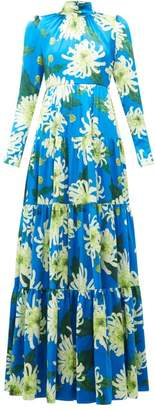 Andrew Gn Chrysanthemum-print Silk Gown - Womens - Blue Multi