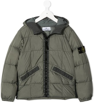 Stone Island Junior TEEN logo patch puffer jacket
