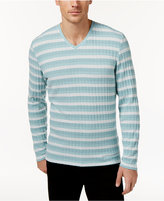 Alfani Men's Stretch Ribbed V-Neck Striped Sweater, Only at Macy's