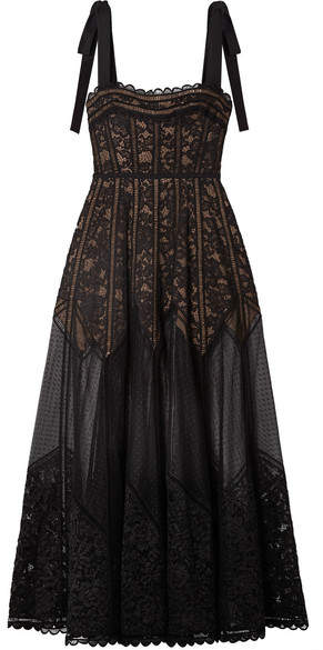 Elie Saab Bow-embellished Lace, Tulle And Crepe Gown - Black