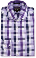 Neiman Marcus Trim-Fit Regular-Finish Square Dress Shirt, Purple