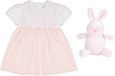 Emile et Rose Baby Kathleen Lace and Ribbons Dress and Knickers, White/Pink