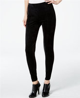 Calvin Klein Faux-Suede-Front Seamed Leggings