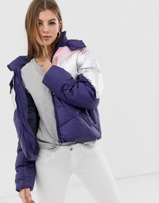Only Feather colourblock quilted hooded jacket-Blue