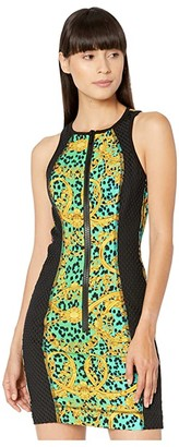 Versace Leo Chain Print Zip Front Tank Dress with Black Mesh Net Insert (Pure Mint) Women's Clothing