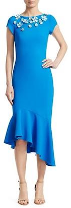 Theia Embellished Cap-Sleeve Dress